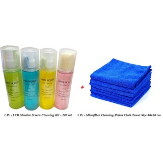 LCD Laptop Monitor Glass Screen Cleaning Kit + Microfiber Cleaning Polish Cloth