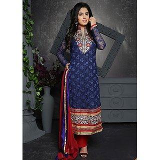 Varanga Navy Blue Emboridered Chanderi Net Chiness Collar Full Sleeves Dress Material with Dupatta KF-AW16RTS007