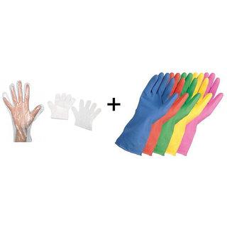 1 Pair REUSABLE Rubber Hand Gloves + 100 Pcs Disposable Transparent Clear Gloves