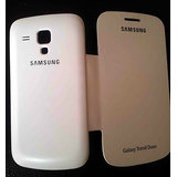 Flip Cover For Samsung Galaxy S DUOS S7562 White Free Screen Guard