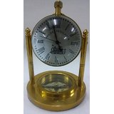 Brass Finish Parallel Brass Table Clock With Compass