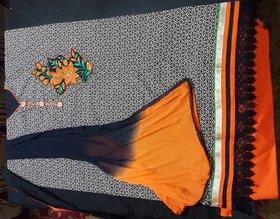 Black  Orange Cotton Suit