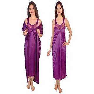 a510a12345f Buy Hot women 2 PC Satin Purple colour Night
