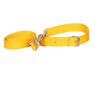 PET CLUB51 STANDARD DOG COLLAR AND LEASH- LARGE-YELLOW