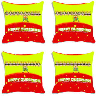 meSleep Happy Dussehra Multi Color  Digital Printed Cushion Cover (16x16)-Set Of 4