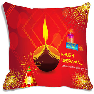 meSleep Red Shubh Diwali Cushion (With Filling - 16x16 Inches)