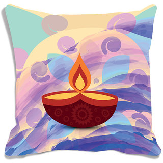 meSleep Multi Color Happy Diwali Cushion (With Filling - 16x16 Inches)