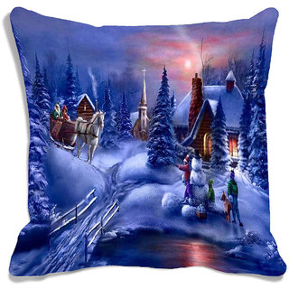 meSleep Blue Merry Christmas Town Digitally Printed Cushion Cover (16x16)