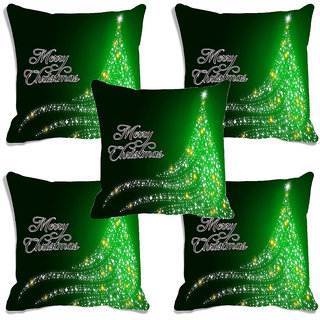 meSleep Green Merry Christmas Digitally Printed Cushion Cover (16x16)-Set Of 5