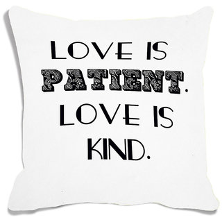 meSleep White Love Is Kind Digital Printed Cushion Cover (16x16)