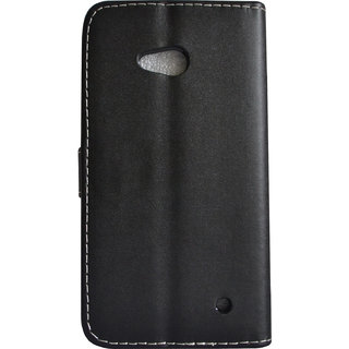 Emartbuy Phone Nokia Lumia 640 Case Wallets/Flips Black Plain