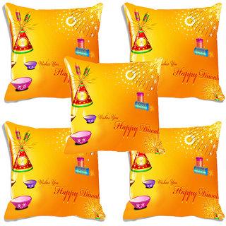meSleep Yellow Happy Diwali Digitally Printed Cushion Cover (16x16)-Set Of 5