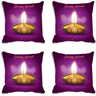 meSleep purple  Happy Diwali Digitally Printed Cushion Cover (16x16)-Set Of 4