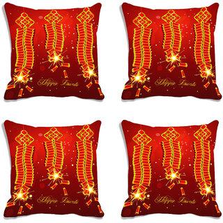 meSleep Brown Happy Diwali Digitally Printed Cushion Cover (16x16)-Set Of 4