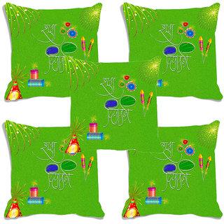 meSleep Green Happy Diwali Digitally Printed Cushion Cover (16x16)-Set Of 5