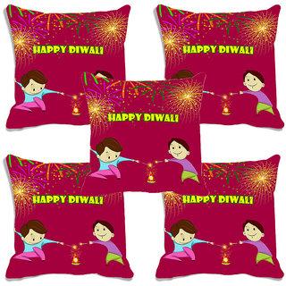 meSleep Multi Happy Diwali Digitally Printed Cushion Cover (16x16)-Set Of 5