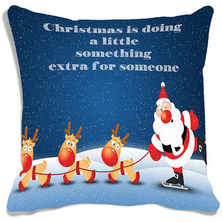 meSleep Blue   Santa Christmas  Cushion (With Filling - 16x16 Inches)