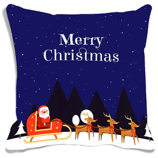 meSleep Multi Merry Christmas  Digitally Printed Cushion Cover (16x16)