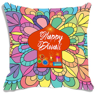 meSleep Multi Color Happy Diwali Digitally Printed Cushion Cover (16x16)
