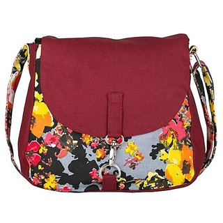 Vivinkaa Yellow Maroon Canvas Sling Bag for Women