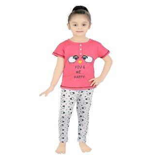 Buy Punkster Pink Half Sleeve Cotton Top Pyjama Set For Baby Girls ... e1cccce2f