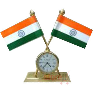 Indian  Flag With Clock For Offices
