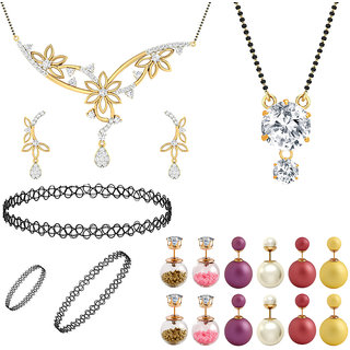 Jewels Galaxy Exclusive Mother-Daughter Combo 6 Pair Of Emma Watson Earrings  2 Mangalsutra  1 Choker Combo Set (Pack Of 19)