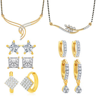 Jewels Galaxy Exclusive AAA Stone 2 Mangalsutra  6 Pair Of Earrings (Pack Of 8)