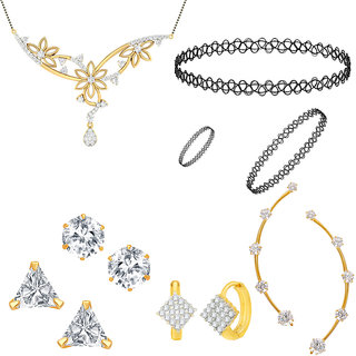 Jewels Galaxy Exclusive AAA Stone Mother-Daughter Combo 3 Pair Of Earrings  1 Pair Of Earcuff  1 Mangalsutra  1 Choker Combo Set (Pack Of 10)