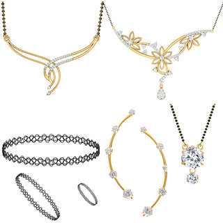 Jewels Galaxy Exclusive AAA Stone Mother-Daughter Combo 1 Pair Of Earcuff   3 Mangalsutra  1 Choker Combo Set (Pack Of 8)