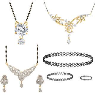 Jewels Galaxy Exclusive AAA Stone 3 Mangalsutra  1 Choker Combo Set -Pack Of 6