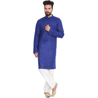 Sojanya (Since 1958), Royal Blue, Solid Kurta Pyjama, Cotton Linen blend