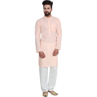 Sojanya (Since 1958), Peach, Solid Kurta Pyjama, Cotton Linen blend
