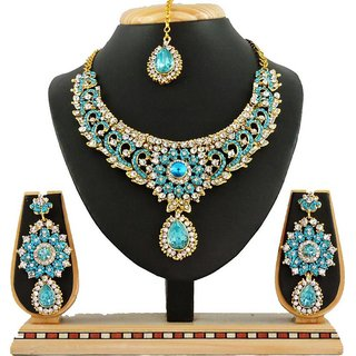 Vatsalya Creation Alloy Jewel Set Flower Design (Turquoise)