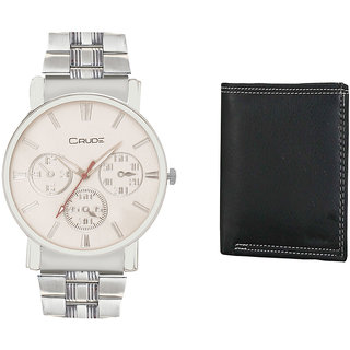 Crude Smart Combo Analog Watch-rg195 With Leather Wallet