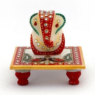 Ghar Sajja  Marble Chowki Ganesh have white base, Peacock/Mor and Subh Labh Kalash design