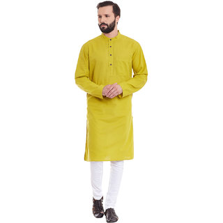 Even Yellow Linen Long Casual Kurta for Men