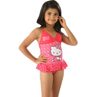Winning Pink kitty print one piece swim wear.