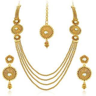 Penny Jewels Alloy Antique Designer Gold Plated Necklace Set