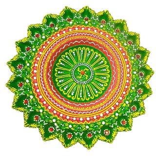 Craft Art India Handmade Rangoli Design Earthen Clay / Terracotta Decorative Dipawali / Diwali Diya / Tealight / Oil Lamps for Pooja / Puja  , Size(CM)3.81x36x36