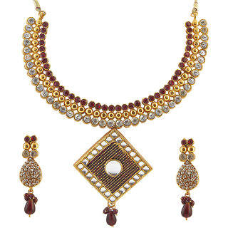 Kriaa Alloy Maroon Ethnic Necklace Set