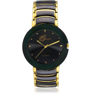 Arum Latest Designer Men's Gold In Black Watch AW-084