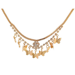 Kriaa Alloy Golden Statement Necklace