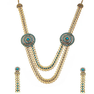 Kriaa Alloy Blue  Ethnic Necklace Set