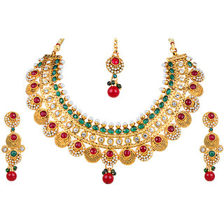 Kriaa Alloy Maroon  Green Ethnic Necklace Set