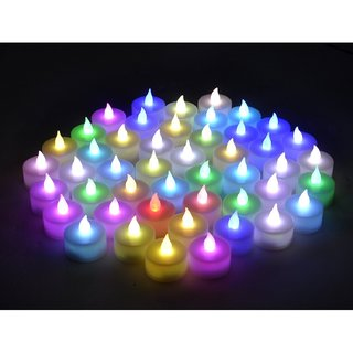 Maxtop Multicolor LED Tea Light Candle - Set of 36