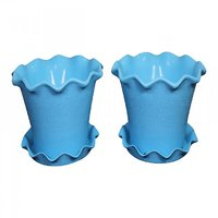 MALHOTRA PLASTIC ORCHID POT 350 - SET OF 2 PCS WITH DRIP TRAY COLOR SKY BLUE (12 Inch)