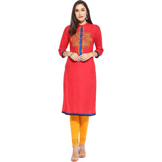 Mytri Coral  Embroidered Rayon  Kurta