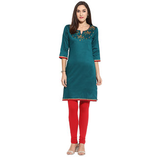 Mytri Sea Green  Embroidered Poly/cotton  Kurta