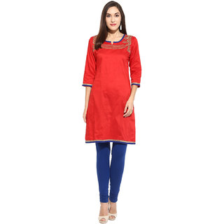 Mytri Red  Embroidered Poly/cotton  Kurta
